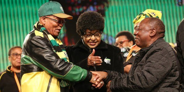Stalwart Winnie Madikizela-Mandela urges ANC President Jacob Zuma and his deputy Cyril Ramaphosa to hold...