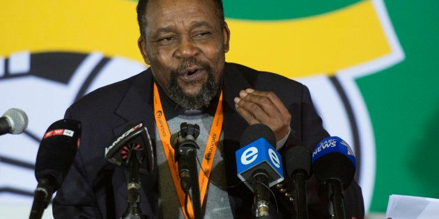 Joel Netshitenzhe addresses the media on the sidelines of the ANC policy conference on July 4