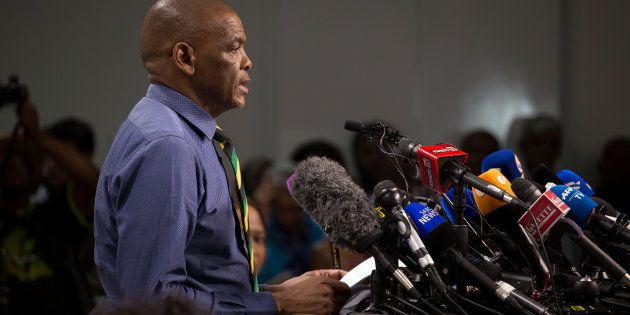 ANC secretary-general Ace Magashule and members of the ANC national executive committee address a media...