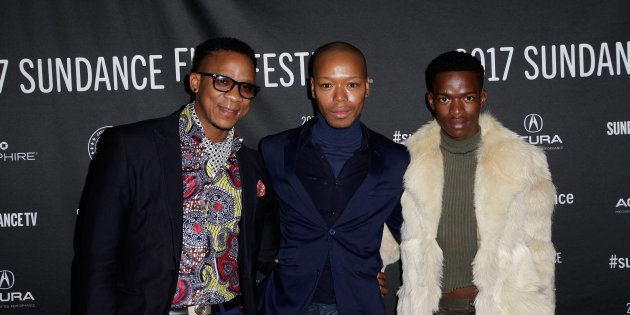 (L-R) Actors Bongile Mantsai, Nakhane, and Niza Jay Ncoyini last January at the world premiere
