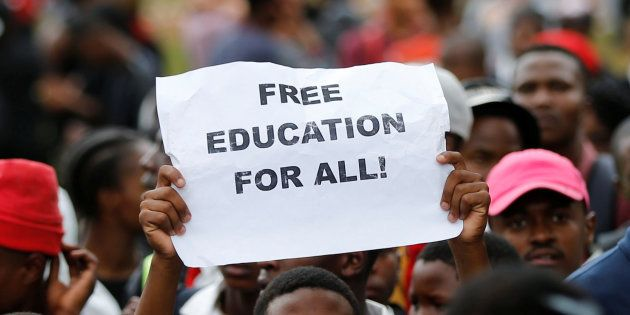 A protester at a #FeesMustFall protest at the Union Buildings in Pretoria. October 20,