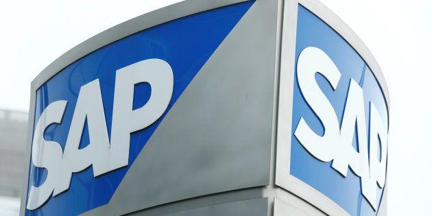 SAP logo at SAP headquarters in Walldorf, Germany, January 24,