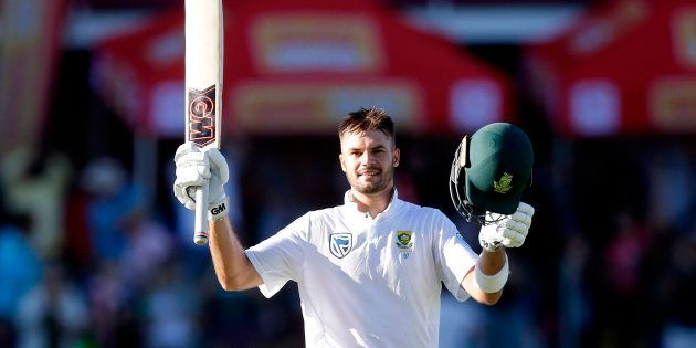 Aiden Markram acknowledges the crowd after scoring a century against Australia at Kingsmead in Durban...