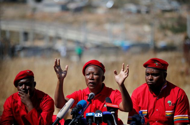 Julius Malema gestures during a media briefing in Alexandra. August 17,