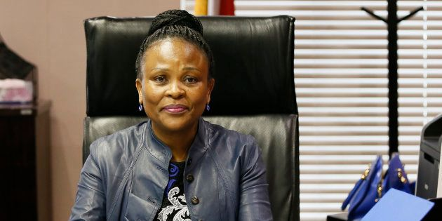 South Africa's Public Protector Busisiwe Mkhwebane poses in her office after a press briefing releasing...