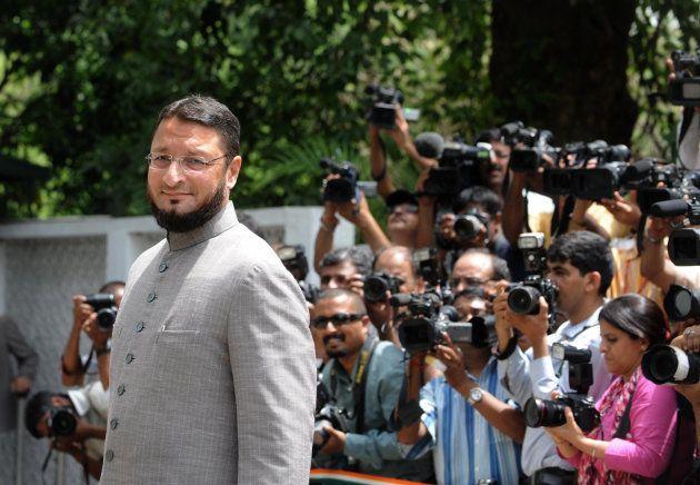 All India Majlis-e-Ittehadul Muslimeen leader Asaduddin Owaisi arrives to attend the United Progressive...