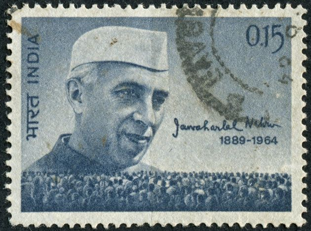 Cancelled stamp from India featuring Jawaharlal Nehru who was the first Prime Minister of