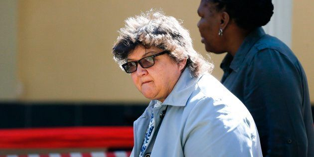 South African State Enterprises minister Lynne Brown arrives to attend the South African ruling Party...