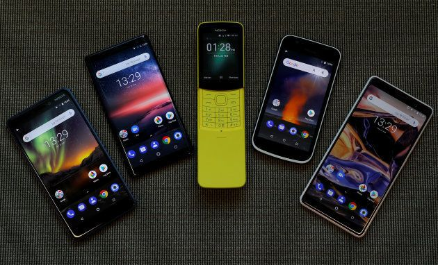 The New Nokia 6, Nokia 8 Sirocco, Nokia 8110, Nokia 1 and the Nokia 7 Plus are seen at a pre-launch event...