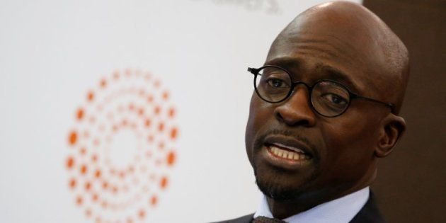 South Africa's Finance Minister Malusi Gigaba looks on as he speaks during the Thomson Reuters economist...