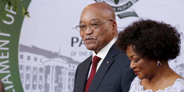 South Africa's President Jacob Zuma arrives with Speaker of Parliament Baleka