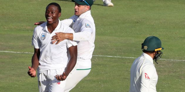 Kagiso Rabada celebrates after taking the wicket of Australia's Usman