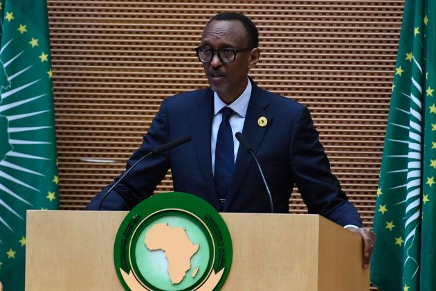 Rwandan President Paul Kagame and Chairperson of the African Union gives his remarks during the closing...