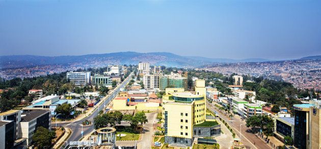 A view over the rooftops of Kigali City, the capital of Rwanda and center of one of the most horrific...