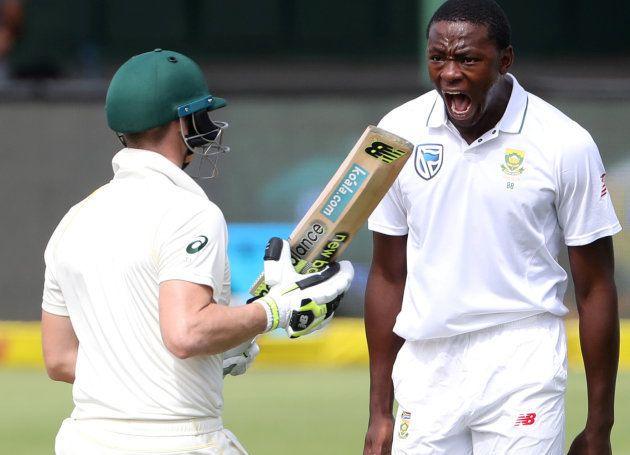 Kagiso Rabada celebrates taking the wicket of Australia's captain, Steve Smith, in the second SA vs Aus...