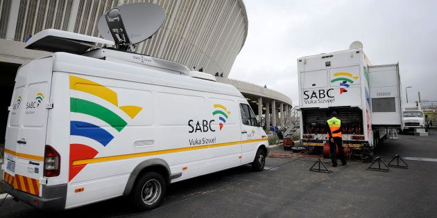 An SABC Satellite truck beaming back Television signals from the Moses Mabhida Stadium in Durban, South...