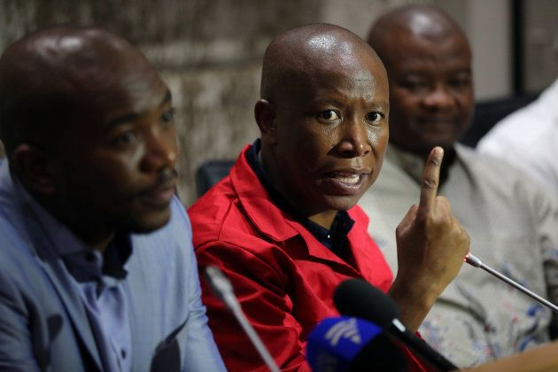 Julius Malema, leader of the EFF, speaks during a media briefing at Parliament in Cape Town. February...