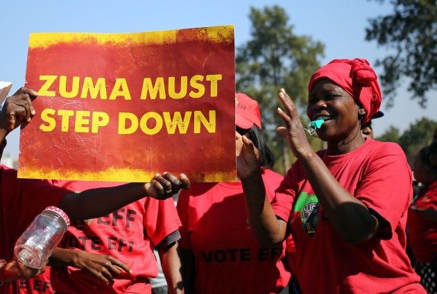 Anti-Zuma protesters and members of South Africa's ultra-left Economic Freedom Fighters party (EFF),...