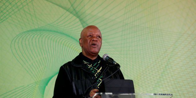 JOHANNESBURG, SOUTH AFRICA JULY 04: (SOUTH AFRICA OUT): Minister in the Presidency Jeff Radebe addresses...