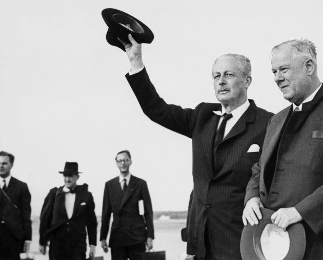 South African Prime Minister Hendrik Verwoerd (right), with British Prime Minister Harold MacMillan,...