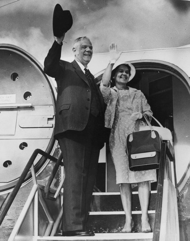 27th February 1961: South African Prime Minister Hendrik Verwoerd waving goodbye with his wife as they...