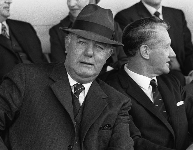 A picture taken in Durban in the 1970's shows John Vorster, South African Prime Minister (left) along...