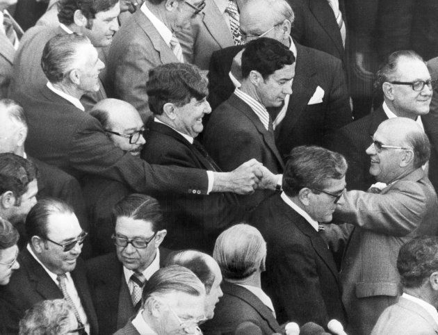 PW Botha Is congratulated by supporters after his appointment as Prime Minister of South Africa, October