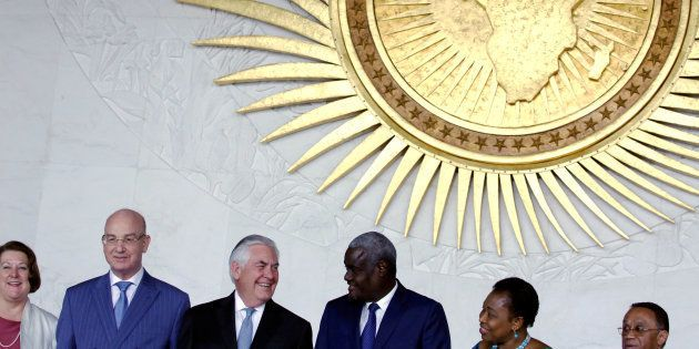 African Union Commission chair Moussa Faki (3rd from right) of Chad, and U.S. Secretary of State Rex...