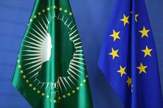 African Union Commission's flag and European Union's flag are seen as High Representative of the European...