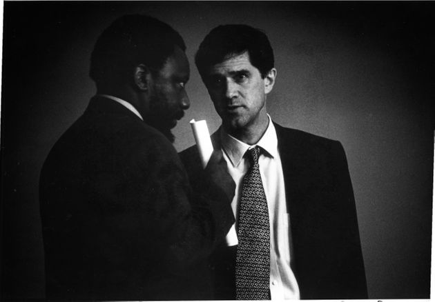 Roelf Meyer (National Party) and Cyril Ramaphosa (ANC) during the Codesa talks on November 21, 1993 in...