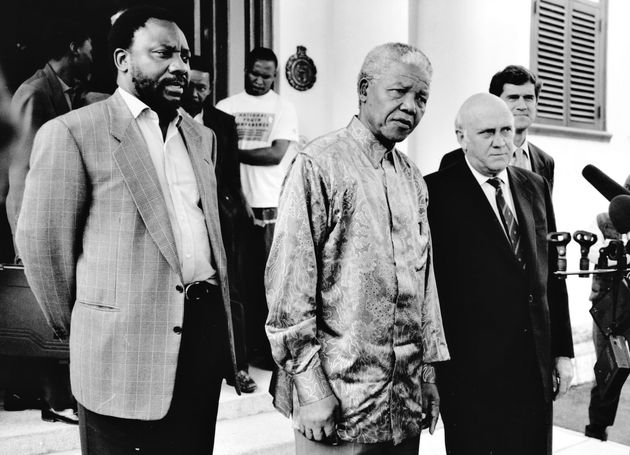 During the constitution-making process in 1996: Cyril Ramaphosa, Nelson Mandela, FW de Klerk and Roelf