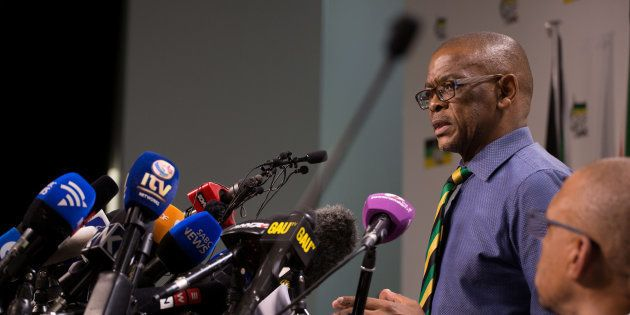 ANC secretary-general Ace Magashule addresses a media conference in Johannesburg. February 13,