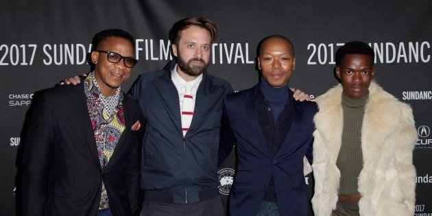 (Left to right) Actor Bongile Mantsai, director John Trengrove and actors Nakhane Toure and Niza Jay...