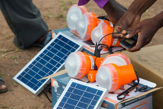 Solar lights being used in a Malawian flood refugee