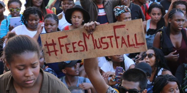 South African students protest at Parliament on October 21, 2015 in Cape