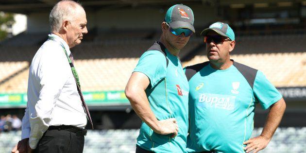 Australian selector Greg Chappell, Australian coach Darren Lehman and captain Steve Smith on day one...