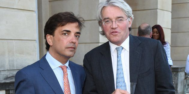 James Henderson (L) and Hon Andrew Mitchell MP attend the Bell Pottinger Summer Party at Lancaster House...