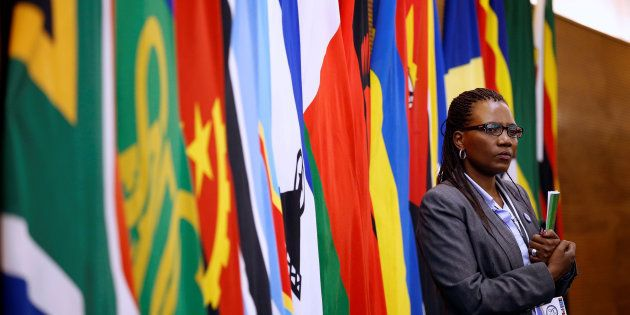 A delegate attends the 37th Ordinary SADC Summit of Heads of State and Government in Pretoria. August...