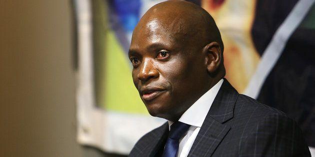 Ousted SABC Chief Operating Officer Hlaudi Motsoeneng seen at a press briefing at the Millpark Hotel...