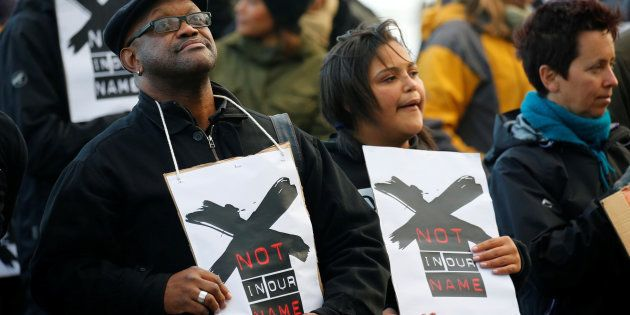 Demonstrators protest against the decision by the SABC that it would not broadcast scenes of violent...