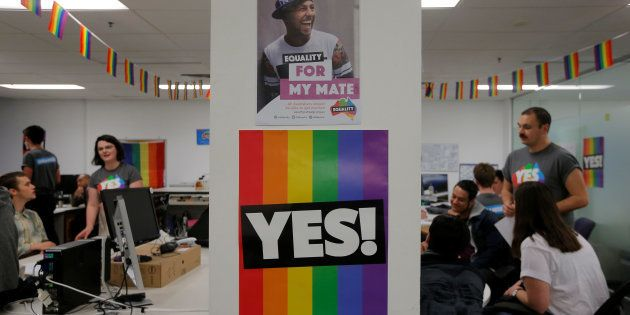 Volunteers talk in call centre for the Yes campaign in Australia's gay marriage vote, as Australia's...