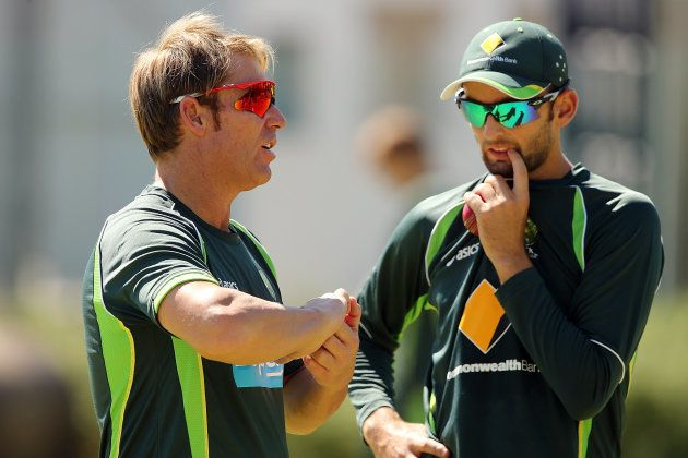 Lyon gets a little advice from Warne. Or is it the other way