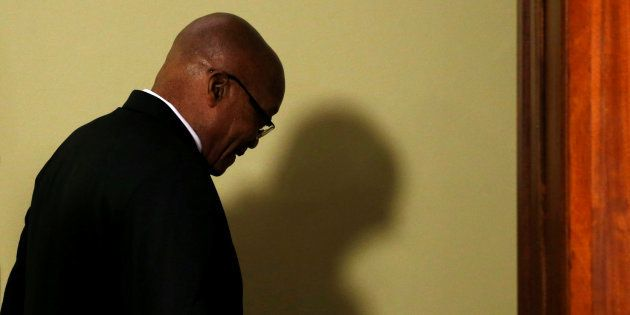 Jacob Zuma leaves after announcing his resignation at the Union Buildings in Pretoria. February 14,