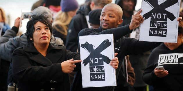Demonstrators protest against the decision by public broadcaster South African Broadcasting Corporation...