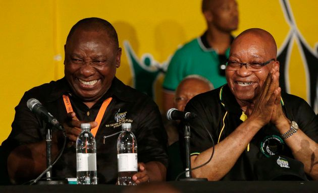 Former South African President Jacob Zuma and President Cyril Ramaphosa at the National Conference of...