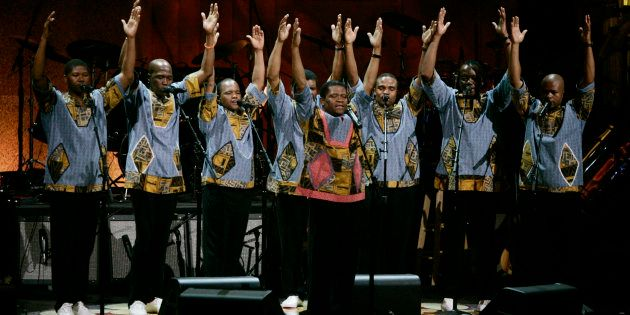 Ladysmith Black Mambazo perform at a show celebrating the music of Paul Simon at the Warner Theater in...