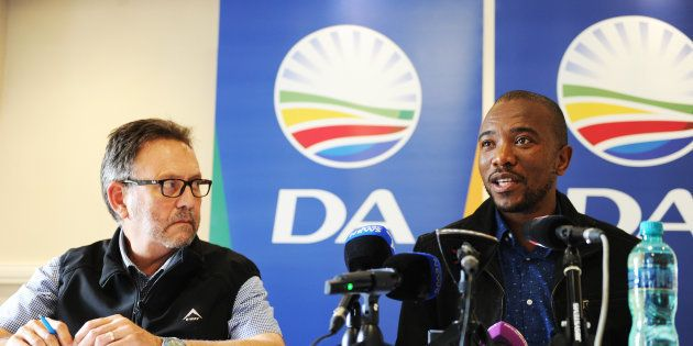 James Selfe, chairperson of the DA's federal executive, and Mmusi Maimane, DA leader, at a press conference...