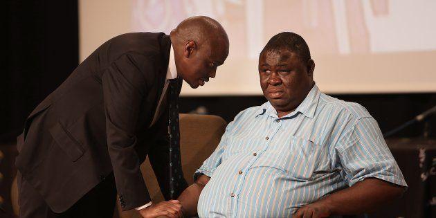 Former SABC COO Hlaudi Motsoeneng consults board member Mbulaheni Maguvhe during a media conference on...