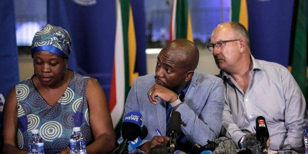 (L-R) DA deputy chair Refiloe Nt'sekhe, party president Mmusi Maimane and federal chair Atholl Trollip...