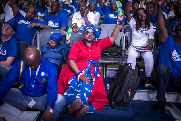 South African opposition party, Democratic Alliance (DA) member votes during the policy decision session...